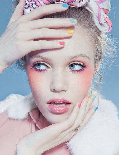 Pastel make up: Makeup And Nails, Pastel Makeup, Cotton Candy, Candy Colors, Pastel Cerveza Tennis, Pastel Nails, Pastel Colors, High Fashion Makeup, Colors Hair