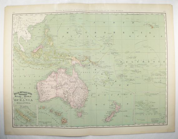 Large Polynesia Map, Pacific Ocean Islands Map 1898 Vintage Map Tropical Islands, Australia Map, Oceania Hawaii Vacation Gift for Couple available from OldMapsandPrints.Etsy.com #Oceania #Polynesia #PacificOceanIslandsMap #TropicalIslands
