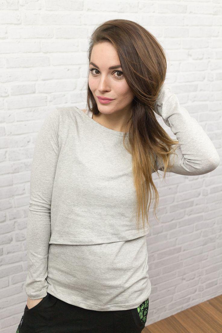 Nové tričko na kojení z naší dílny. Stačí odhrnout vrchní díl a můžete kojit :) Tričko se dá ale nosit i normálně. Použité materiály splňují normu OEKO-TEX Standard 100 třída 1. 92% bavlna, 8% elastan.