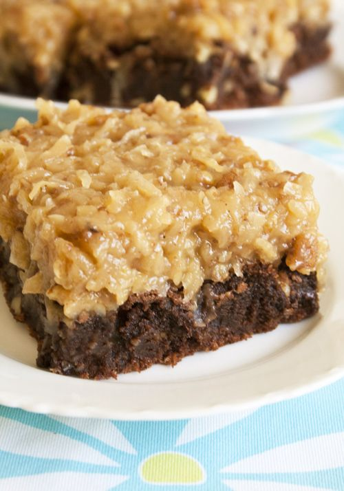 Over The Top German Chocolate Brownies: Desserts, Cake, Recipe, German Chocolates Brownies, Sweet Treats, German Chocolate Brownies, Tops German, Sweet Tooth, Dads