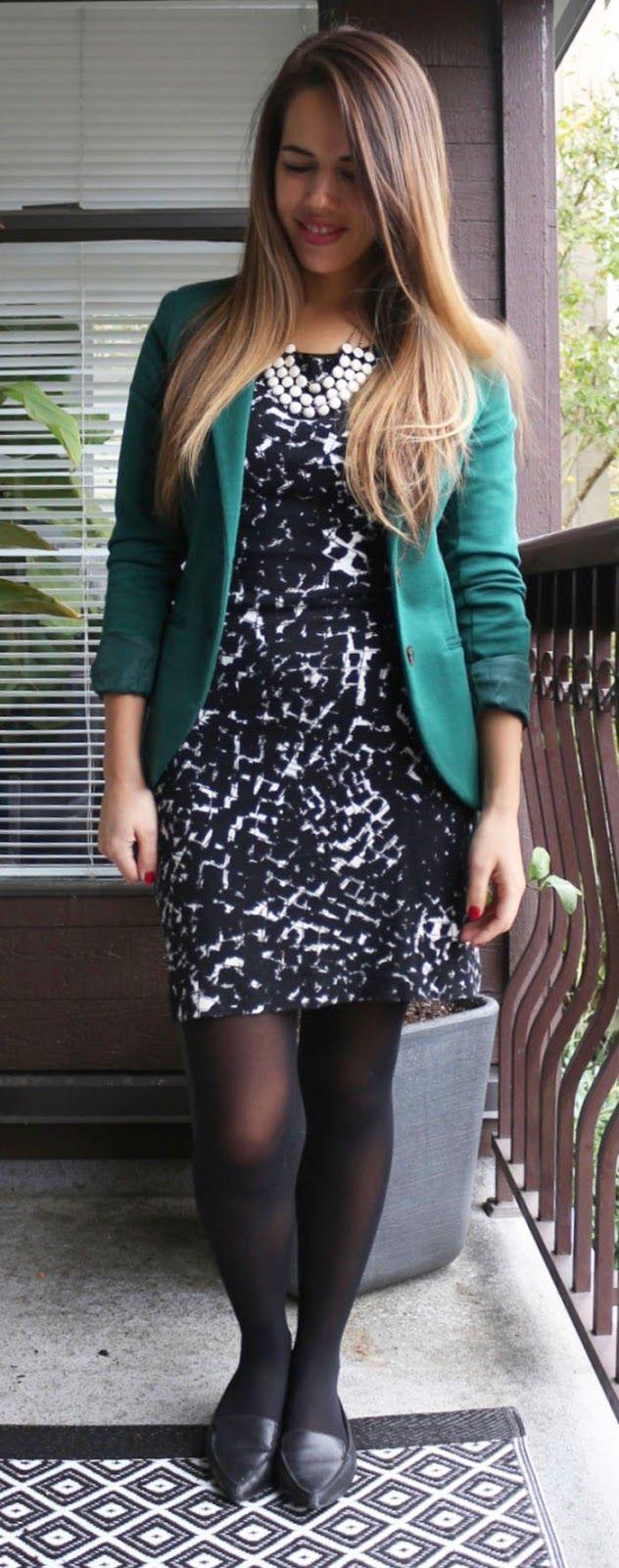 Jules in Flats - Banana Republic Factory Knit Shift Dress, H&M Jersey Blazer