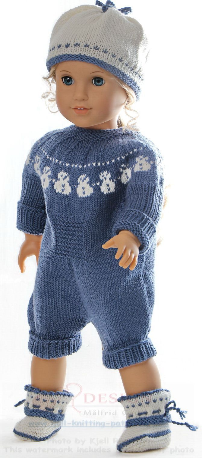 Knitting doll clothes patterns - Lovely doll suit with a cute snow man pattern