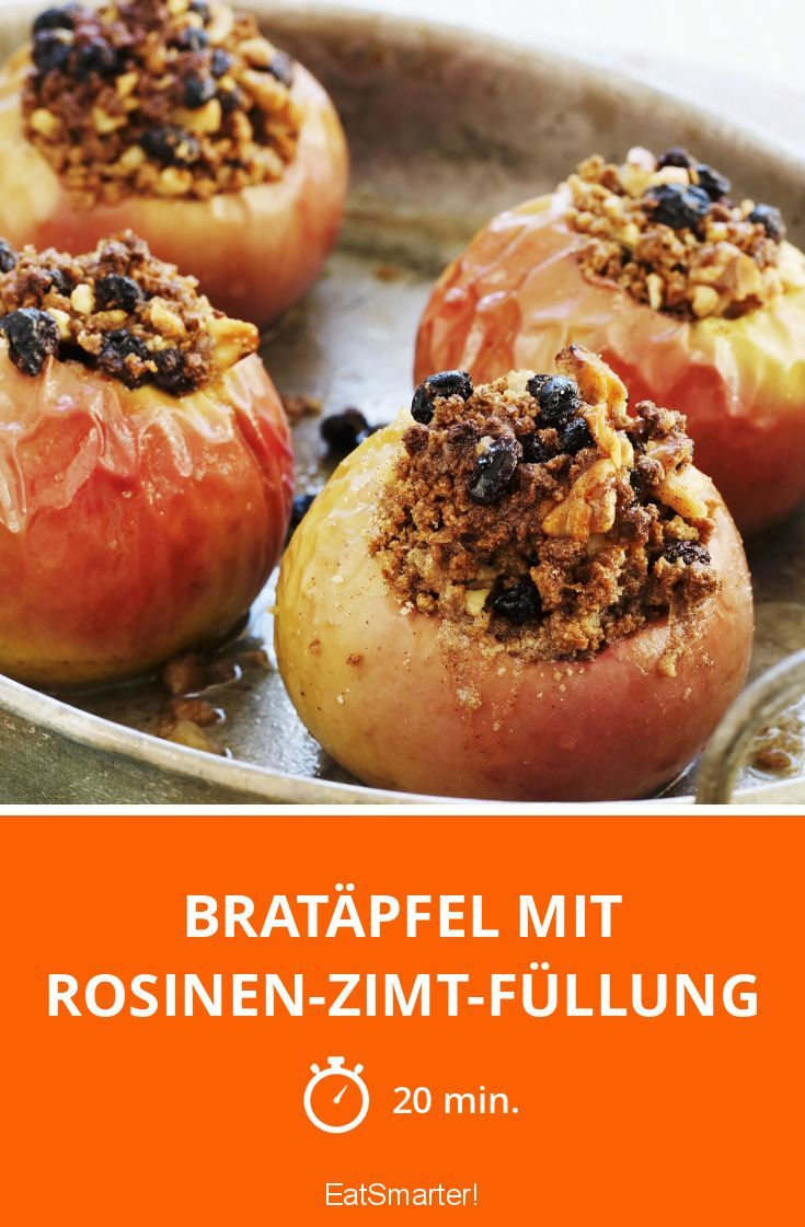 Bratäpfel mit Rosinen-Zimt-Füllung: Super lecker und in nur 20 Minuten fertig. Passen auch perfekt zu Weihnachten.