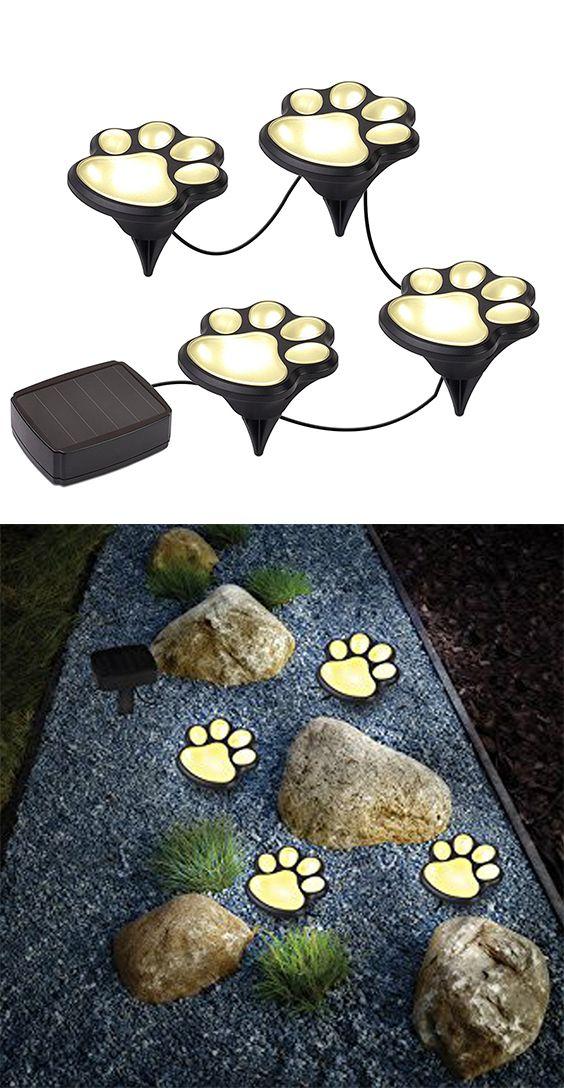 Paw Shape Solar Garden Lights Set Outdoor Landscape Lighting