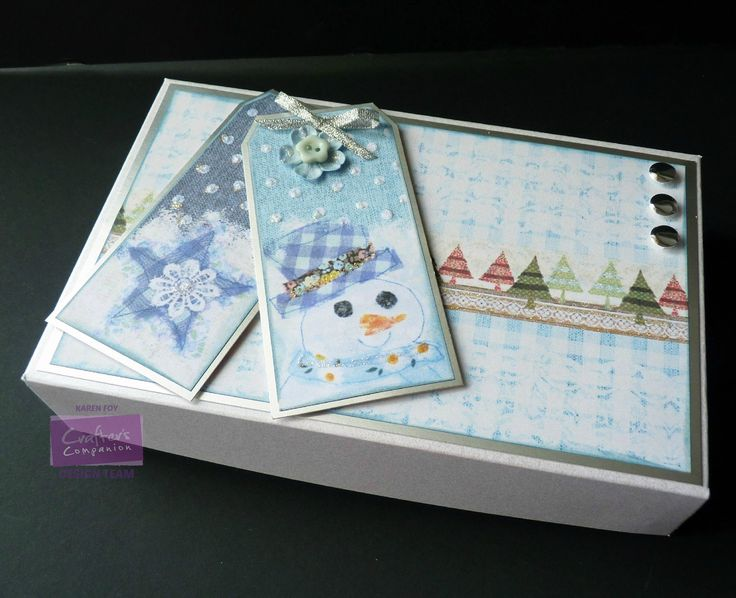 Karen Foy -  Gift Box - Romany Christmas CD - Blended Tags and Backing Papers - Centura Pearl Card Silver Card, Glitter, Ribbon - #crafterscompanion #Christmas