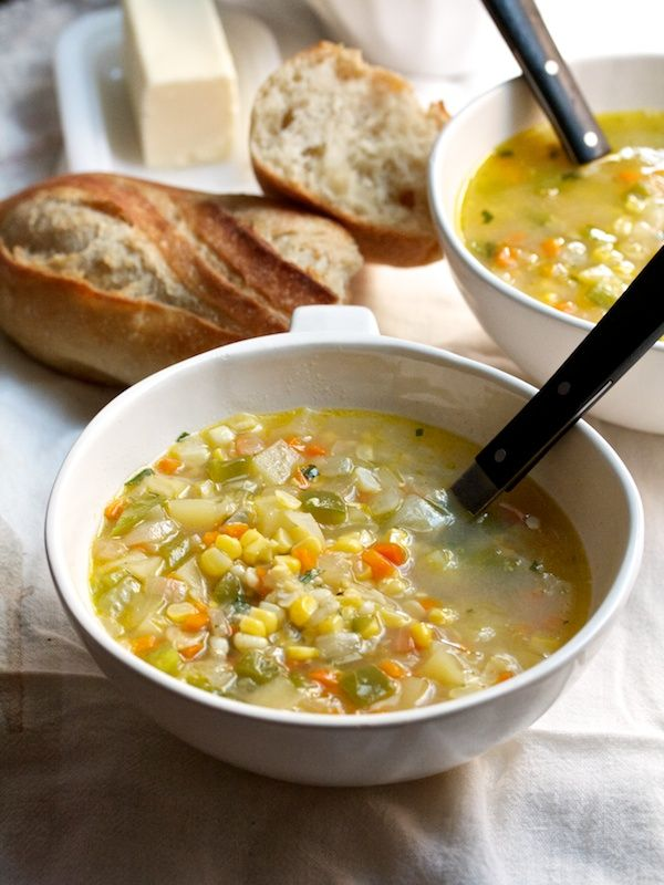 Creamless Corn Chowder. I'm going to make this with vegetable broth.