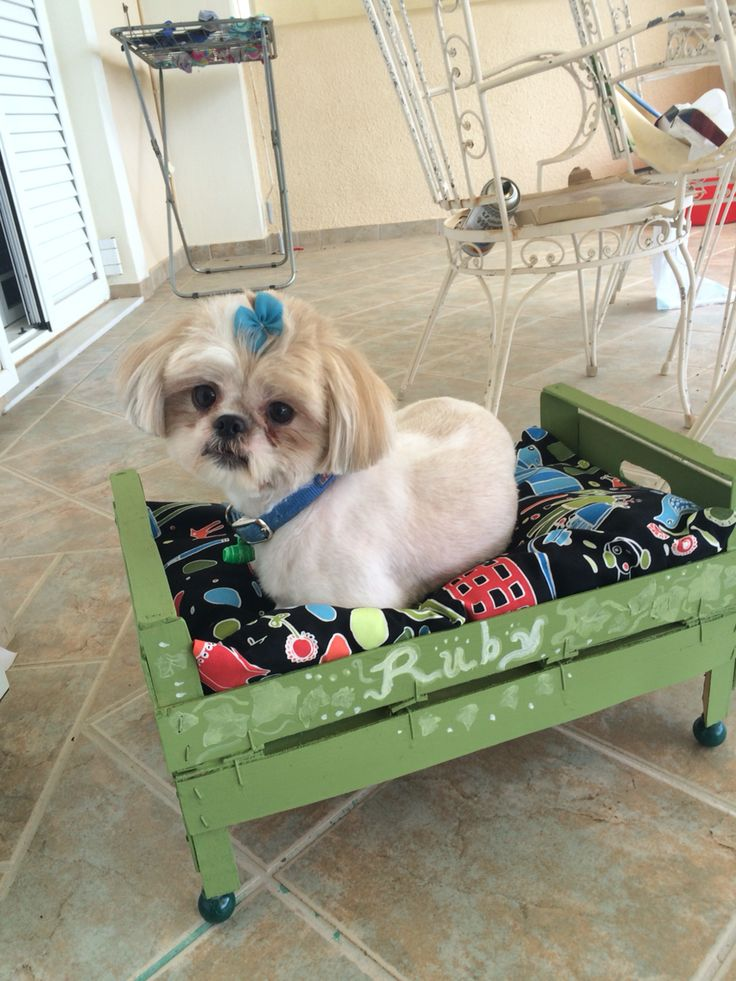DIY dog house made of wooden strawberry crates and scrap fabric ;)