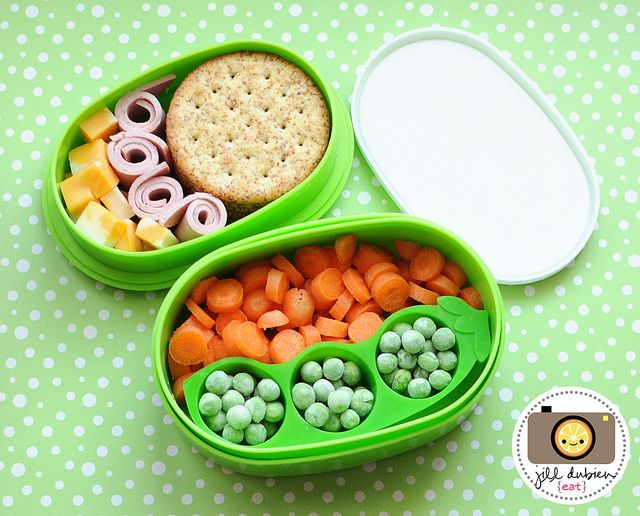 afternoon nutrition break - whole wheat crackers, turkey roll-ups, marble cheese, baby carrots, frozen peas