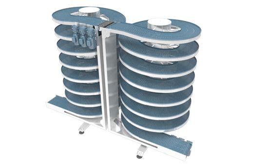 spiral accumulating conveyor, vertical accumulating solution.