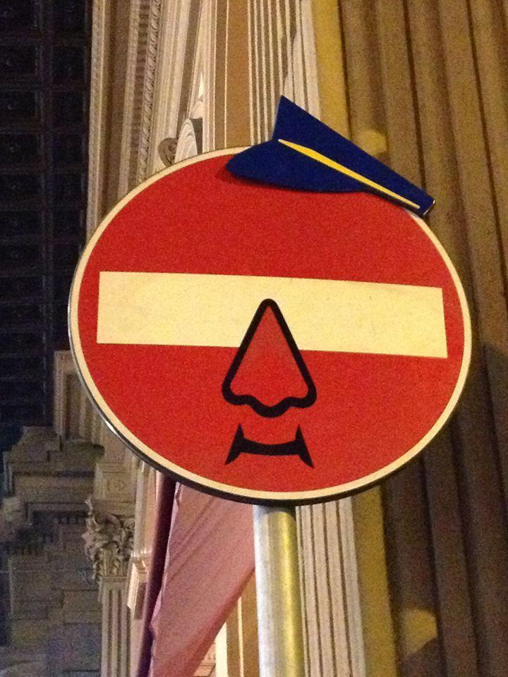 Clet Street Art Sign Urban Art