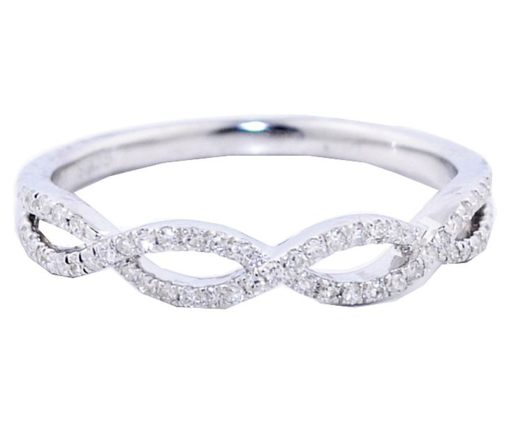 Infinity Wedding Band Anniversary Ring Twisted .125ctw Diamonds in Silver Women's