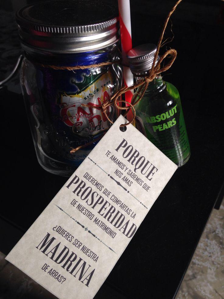 Quieres ser nuestra madrina de arras? Mason jar & mini botella vodka absolut