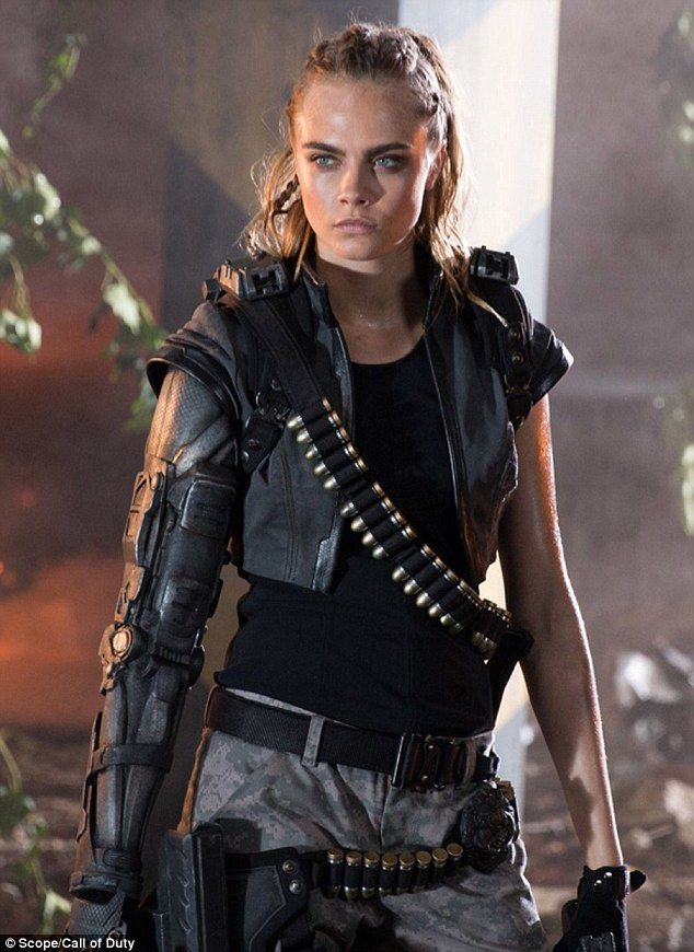 Model mayhem: She's one of the most famous model-turned actresses in the world and Cara Delevingne is making waves in new stills for the Call Of Duty: Black Ops III trailer