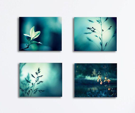 Turquoise Teal Wall Decor : Teal canvas print set nature dark aqua turquoise