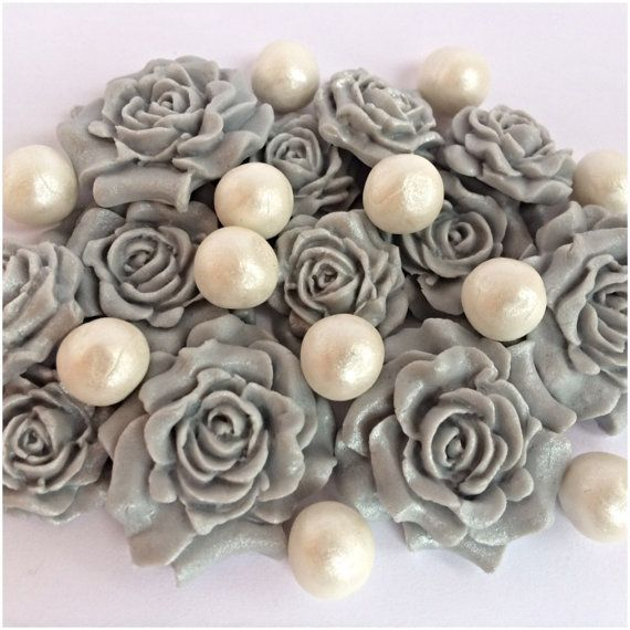 Edible Sugar Rose and Pearl Romantic Silver by TheVillageCakeCo