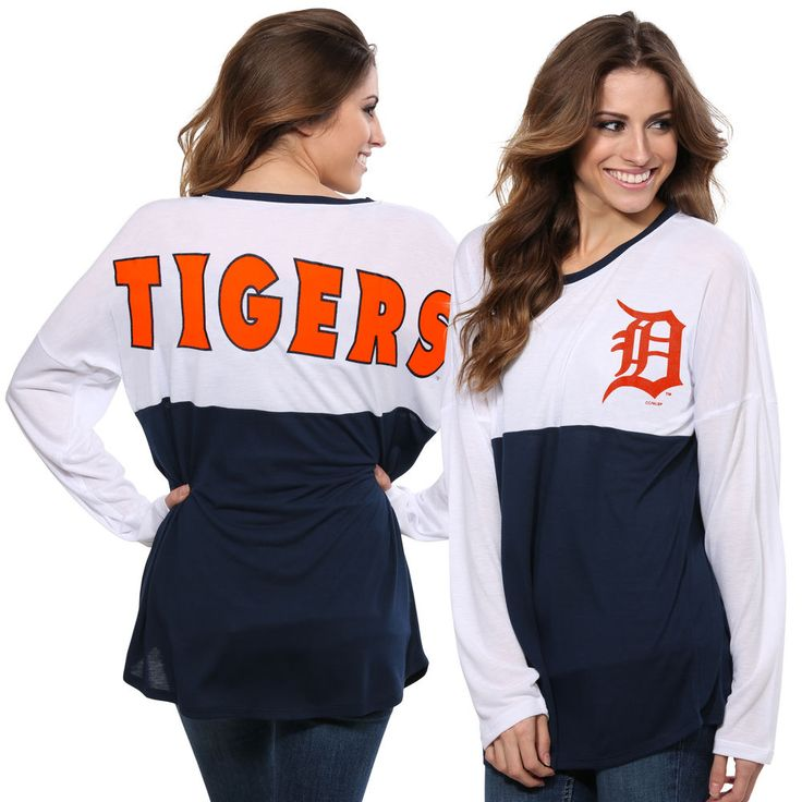 Women's Detroit Tigers Concepts Sport White/Navy Comeback Long Sleeve T-Shirt