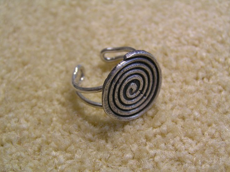 Silver ring-spiral with antique finish by StoneSeeds on Etsy