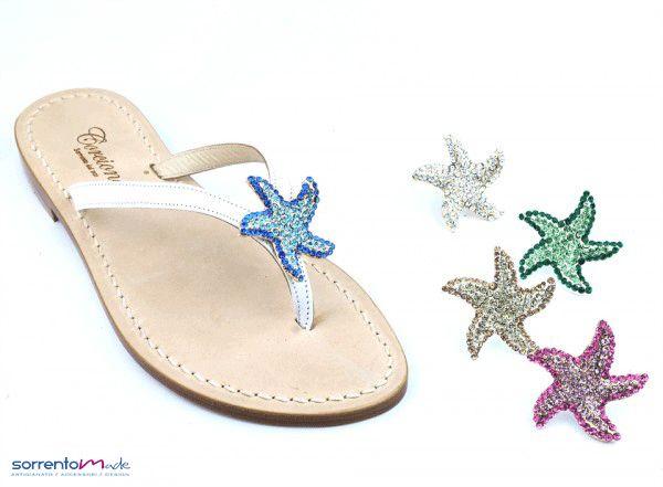STELLA MARINA Per dei sandali che non passano mai di moda..sandali di Positano modello infradito semplice con stella marina di strass, disponibile in 5 colori.  www.sorrentomade.com