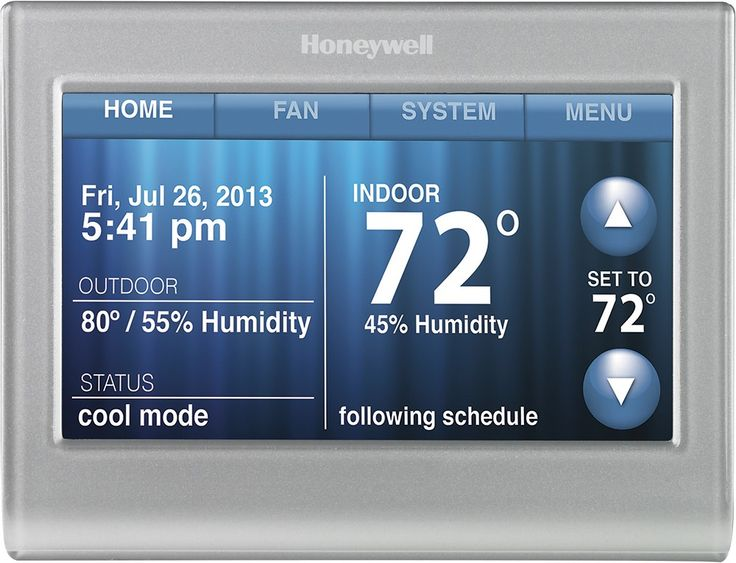 Honeywell - Smart Thermostat with Wi-Fi Capability - Silver - Front Zoom
