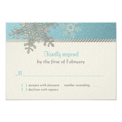 Winter Wedding Reception Silver Blue Snowflake Winter Wedding Reply Card