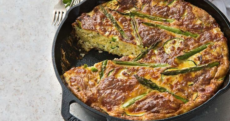 Ready in half an hour, this speedy zucchini and egg rice pie is gluten free and vegetarian.