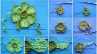 Adım Adım Resimlerle Örgü Çiçek Motifi Yapımı Detaylı Gösterim