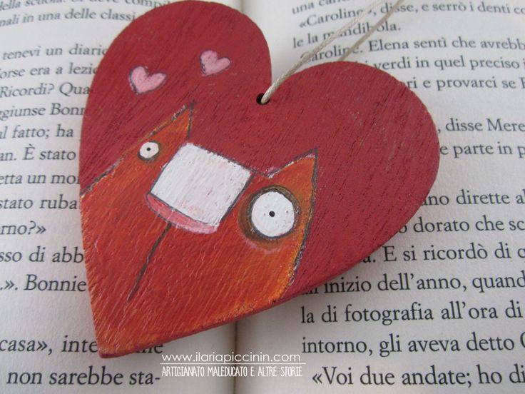 Cuore in legno rosso- Cuore illustrato - Gatto rosso di IlariaPiccininStore su Etsy
