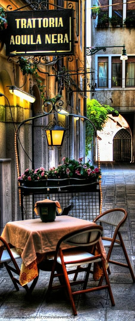 Terrace in Venice, Italy.