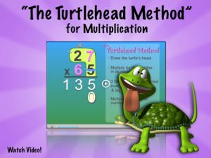"Multiplication Video- ""The Turtlehead Method"":  Show this FUN Multiplication video to 3rd-5th graders as they are learning to multiply by 2-digit numbers! The ""Turtlehead Method"" provides a simple and entertaining way to recall the steps involved in solving multi-digit Multiplication problems. This featured Factivation!® Teacher Tube video also illustrates the importance of mastering single-digit Multiplication facts, as students learn how to apply them to larger problems…"