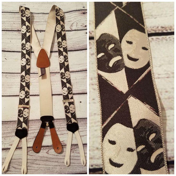 Trafalgar Suspenders Braces Black/White Comedy Tragedy Drama Theater Masks #Trafalgar