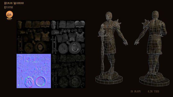 Human Warrior Statue - Asset Store