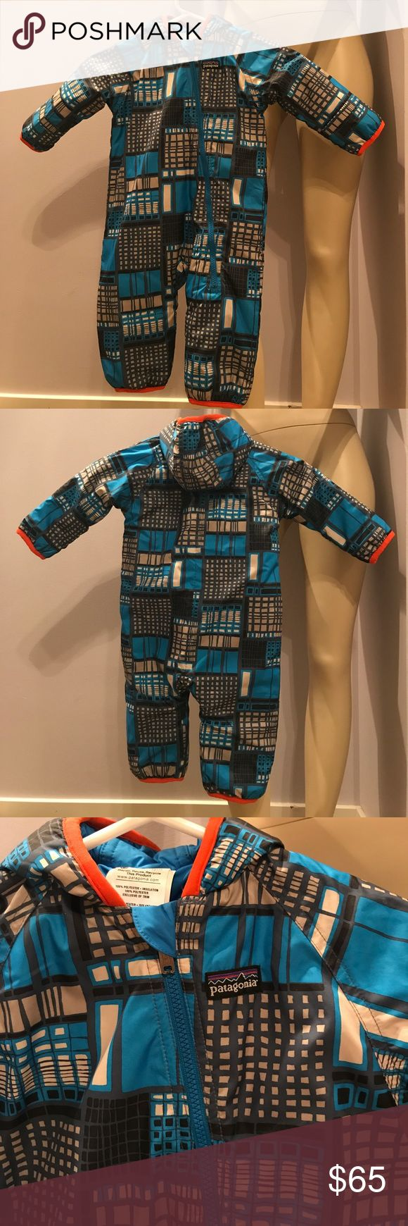 Patagonia baby snow suit/onsie 6months baby NWOT Reversible snowsuit. The other side is blue. The size says 6 months but runs big. So cute! Patagonia Other