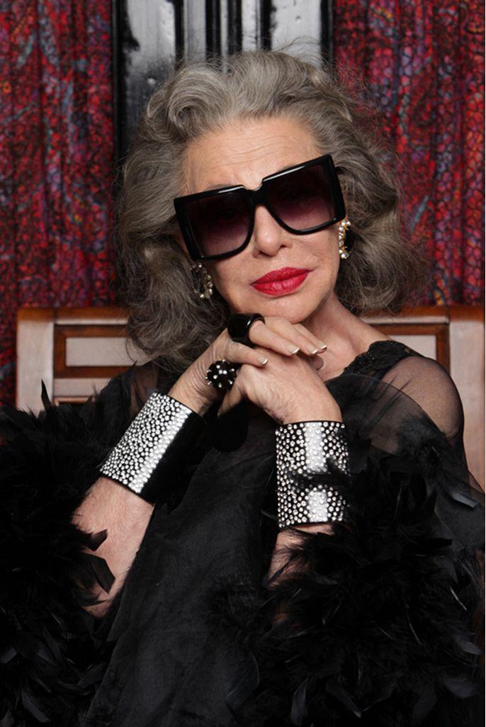 Lynn Dell (age 80) Countess of glam wears Optimist sunglasses by Karen Walker, New York, USA