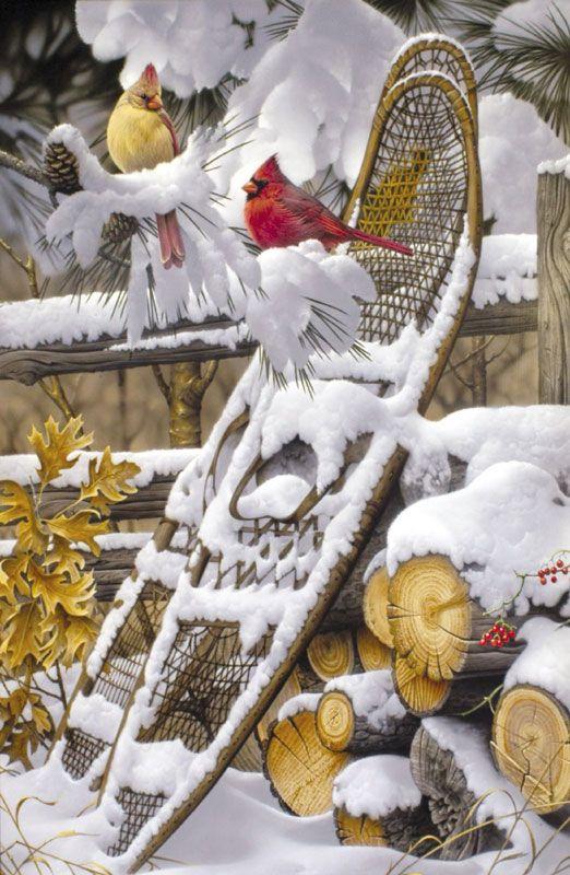 Northern Red Cardinals - bird painting by wildlife artists Jerry Gadamus