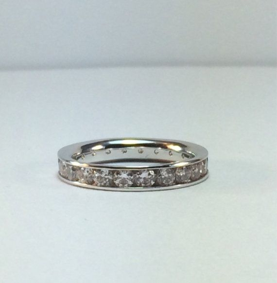 Vintage White Gold Eternity Ring / CZ's / by SusansEstateJewelry