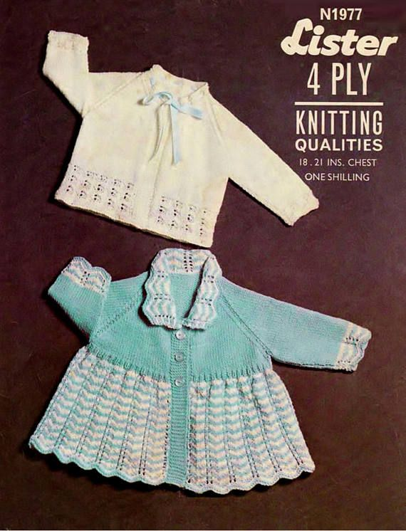 PDF Vintage Baby Knitting Pattern 1960s Lister 1977 Matinee