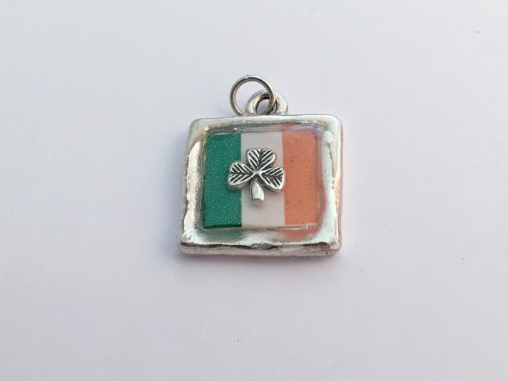 Pewter pendant with print of Irish Flag and sterling silver Shamrock- Ireland