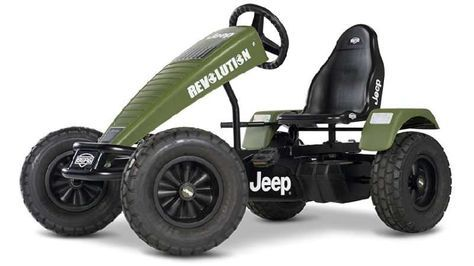 Jeep Revolution BFR-3 pedal go-kart made for kids.   The Jeep Revolution BFR-3 is a amazing go-kart for kids, featuring three gears and back-pedal brake.  It also has a unique system that allows you to pedal both forwards and backwards!
