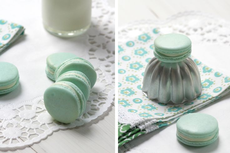 Perfect French Macarons in Pastel Blue with Milk Filling
