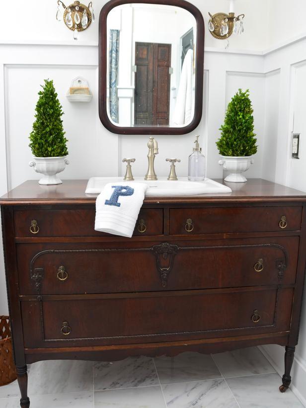 Turn a Vintage Dresser Into a Bathroom Vanity : Decorating : Home & Garden Television