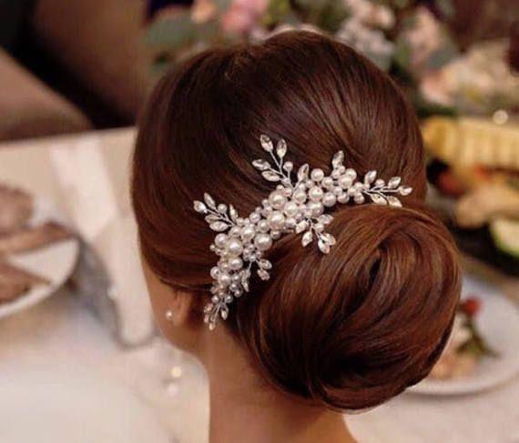 Pearl comb, rhinestone comb, pearl and rhinestone hair comb, hair comb, wedding comb, gold and rhinestone comb, bridal comb