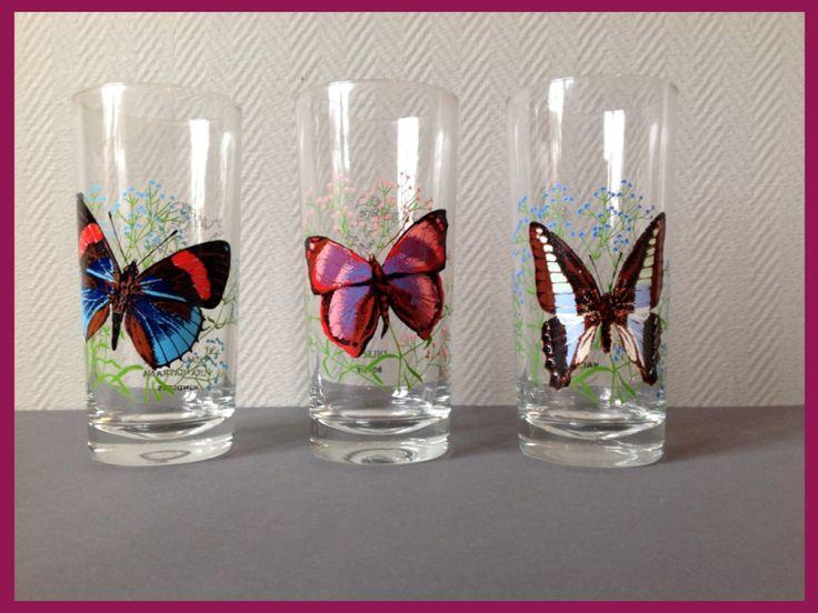 Verres vintage motifs papillons