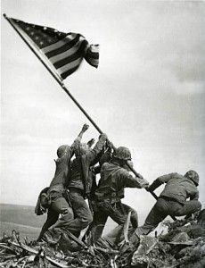 This famous picture of American marines raising the American flag on Mt. Suribachi after winning the battle on Iwo Jima on February 23, 1945.