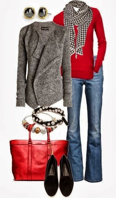 Stylish Outfit - Cardigan, Jeans, Red Sweater, Shoes and Suitable Red Handbag with Accessories