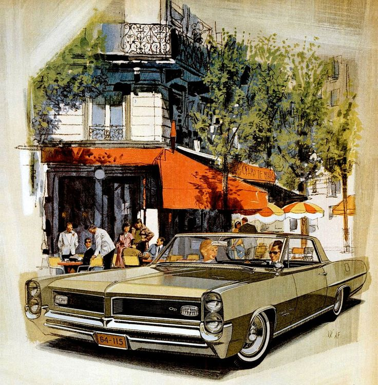 1964 Pontiac Grand Prix in Pinehurst Green - 'Champs De Mars' Enroute to déjeuner: Art Fitzpatrick and Van Kaufman
