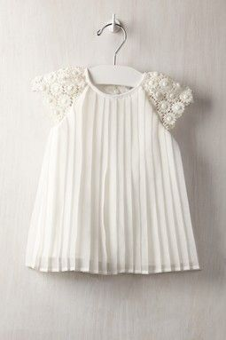 Crochet Sleeve Dress - this would be a pretty blessing gown kristen I am pinning this for your new princess!