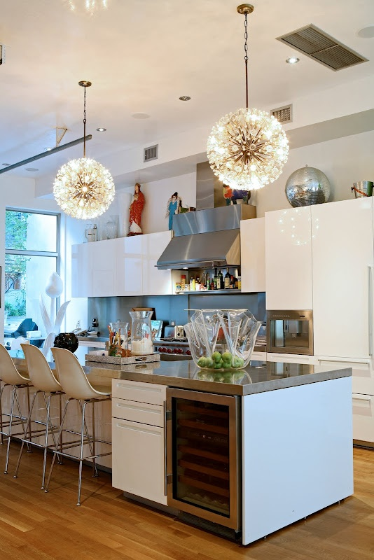 I Love The Flat White Cabinets And The Huge Island. // Eclectic White  Modern Kitchen Of Novogratz Family