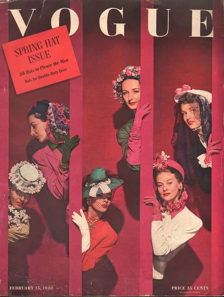 Vogue, Feb 15th 1942. vintage fashion, shows uses of design principles and elements.