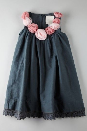 Love navy/pink. Adorable little girls dress