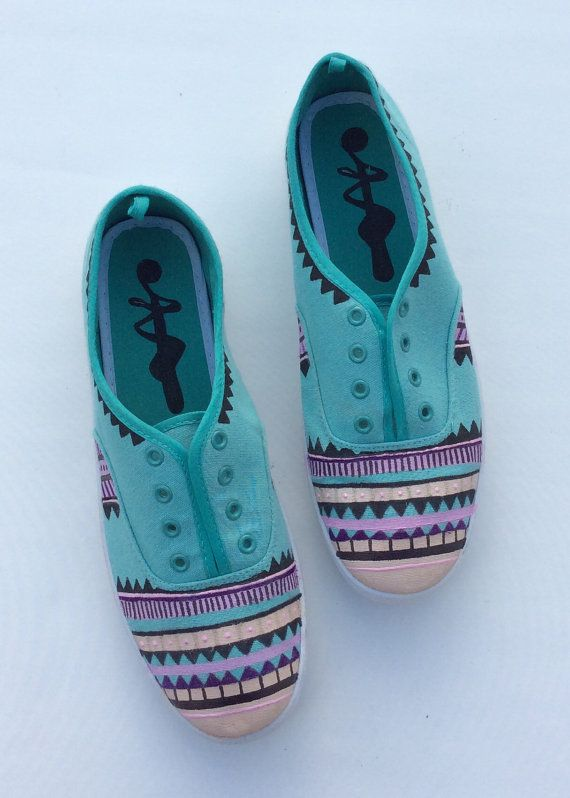 Turquoise Aztec Shoes by 2Woo on Etsy